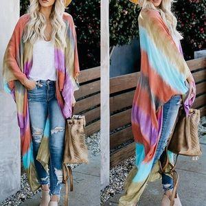 New!🌟Boho Rainbow Stripes Loose Beach Cover Up